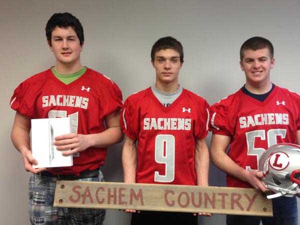 Laconia High School 2014 Football Captains Mitchell Bailey, Matt Swormstedt, and Sean Cashman