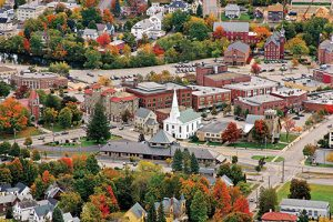 Arial picture of Laconia, NH downtown