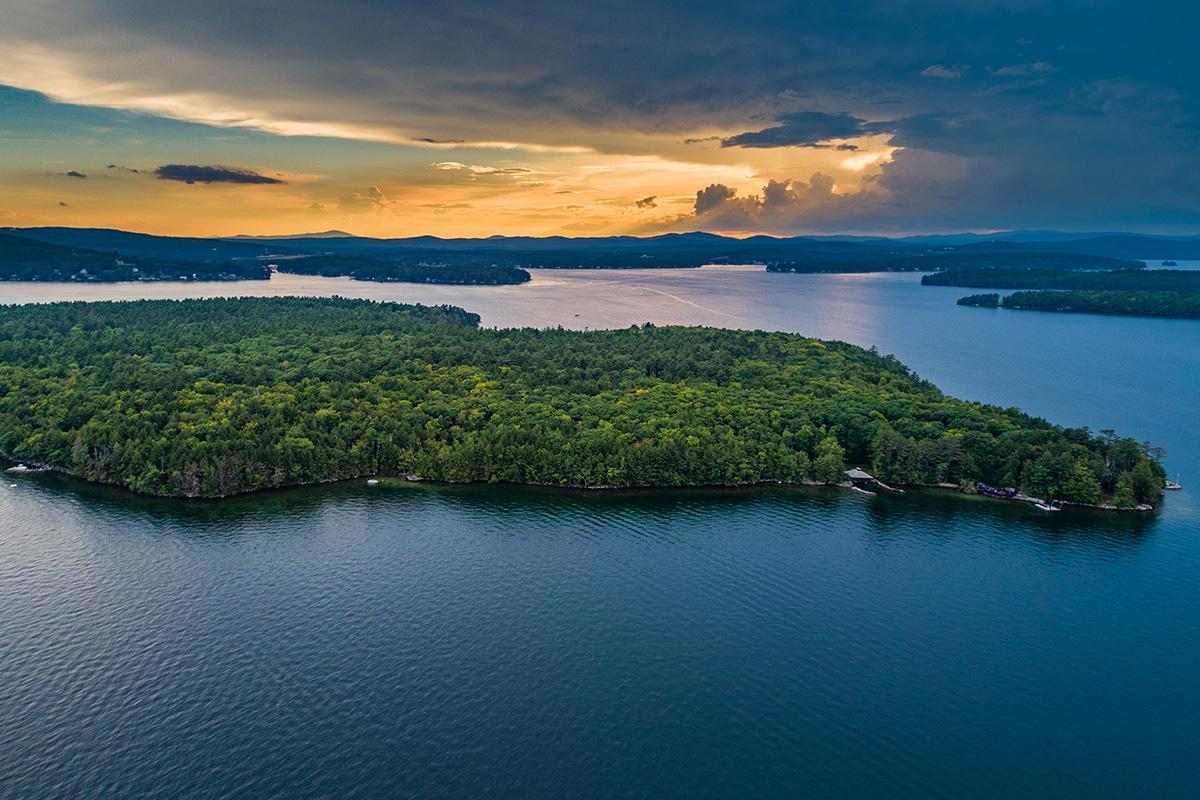 Island Living on Lake Winnipesaukee in NH - aerial view of Welch Island, Lake Winnipesaukee